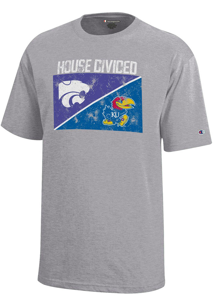 Kansas Jayhawks and K-State Wildcats Youth Grey House Divided Short Sleeve T-Shirt - Image 1