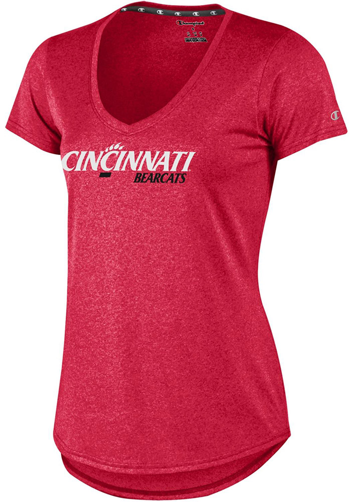 Champion Cincinnati Bearcats Womens Red Epic T-Shirt, Red, 100% POLYESTER, Size XL