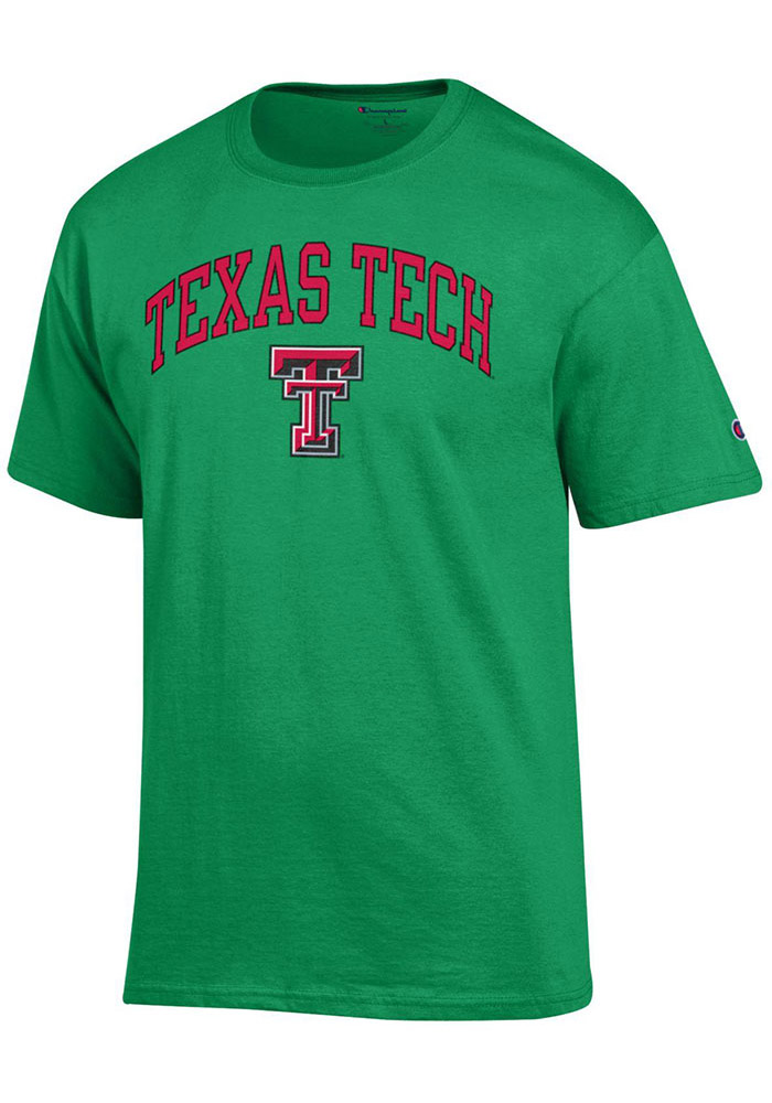 Champion Texas Tech Red Raiders Green Arch Mascot Short Sleeve T Shirt - Image 1
