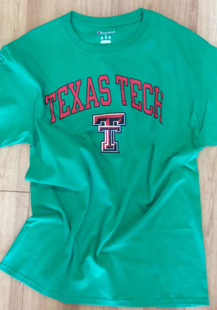Champion Texas Tech Red Raiders Green Arch Mascot Short Sleeve T Shirt - Image 2