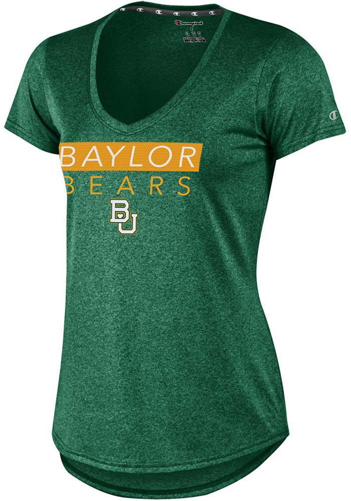 Champion Baylor Bears Womens Green Epic T-Shirt, Green, 100% POLYESTER, Size M