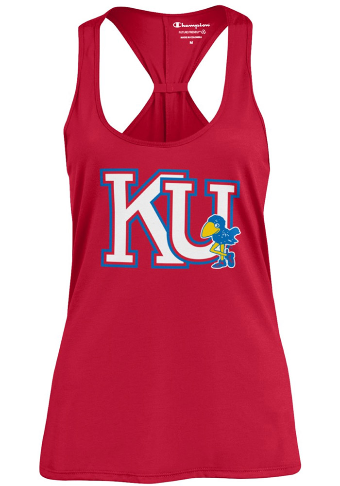 Champion Kansas Jayhawks Womens Red Swing Tank Top - Image 1