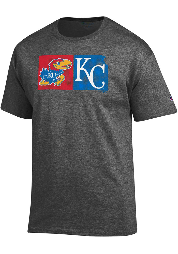 Champion Kansas Jayhawks Charcoal MLB Collaboration Short Sleeve T Shirt - Image 1