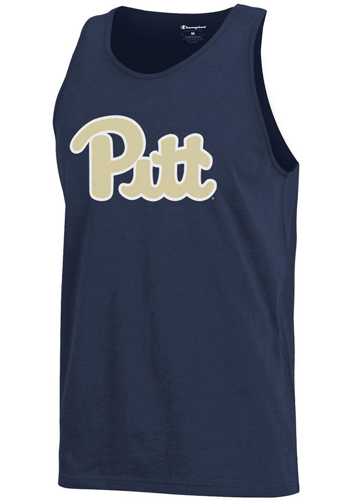 Champion Pitt Panthers Mens Navy Blue Arch Logo Short Sleeve Tank Top - Image 1