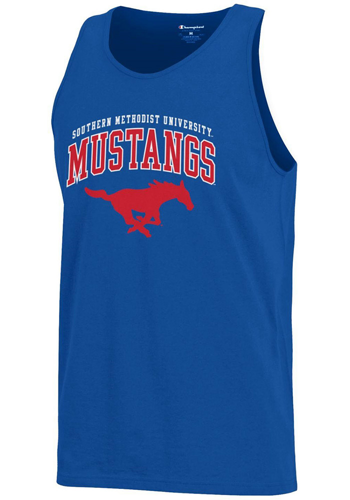 Champion SMU Mustangs Mens Blue Arch Logo Short Sleeve Tank Top - Image 1
