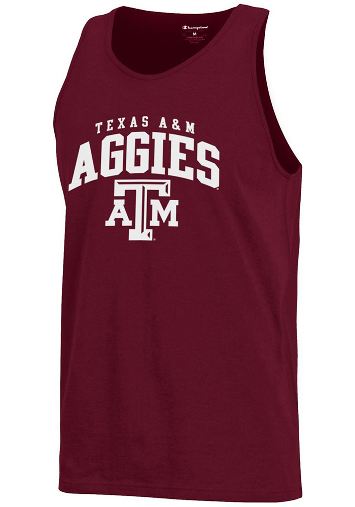 Champion Texas A&M Aggies Mens Maroon Arch Logo Short Sleeve Tank Top - Image 1