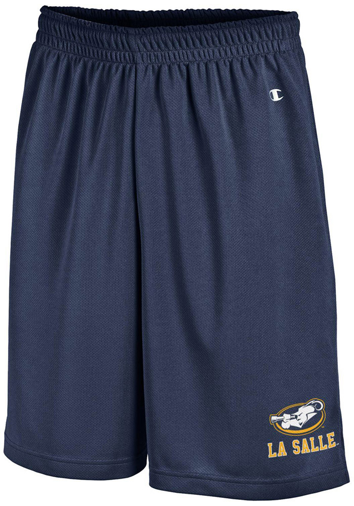 Champion La Salle Explorers Mens Navy Blue Mesh Shorts, Navy Blue, 100% POLYESTER MESH, Size XL
