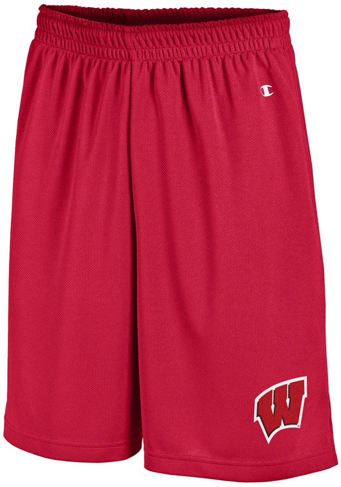 Champion Wisconsin Badgers Mens Red Mesh Shorts - Image 1