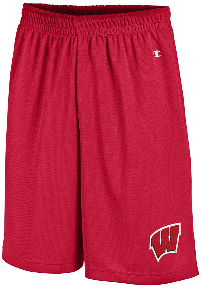 Champion Wisconsin Badgers Mens Red Mesh Shorts - Image 2