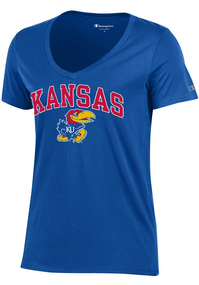 Kansas Jayhawks Womens Blue University V-Neck T-Shirt - Image 1