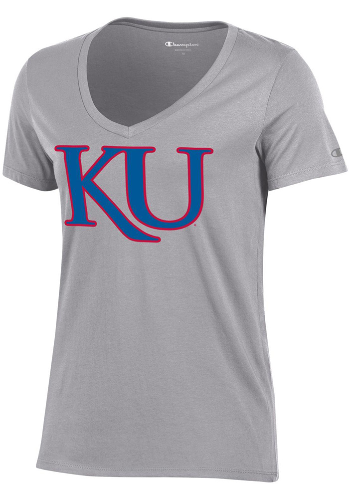 Kansas Jayhawks Womens Grey University V-Neck T-Shirt - Image 1