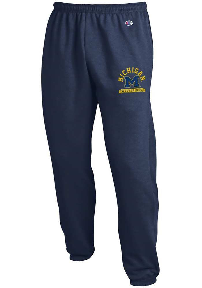 Champion Michigan Wolverines Mens Navy Blue Logo Sweatpants, Navy Blue, 50% Cotton / 50% Polyester, Size M