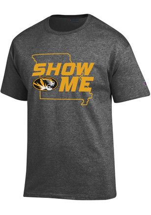 Missouri Tigers Mens Grey Show Me State Outline Tee