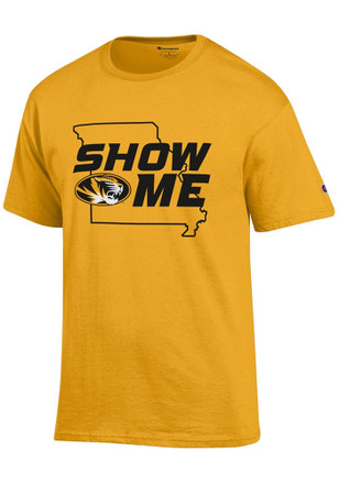 Missouri Tigers Mens Gold Show Me State Outline Tee