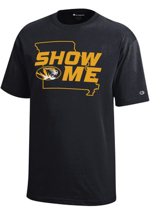 Missouri Tigers Kids Black Show Me State Outline T-Shirt