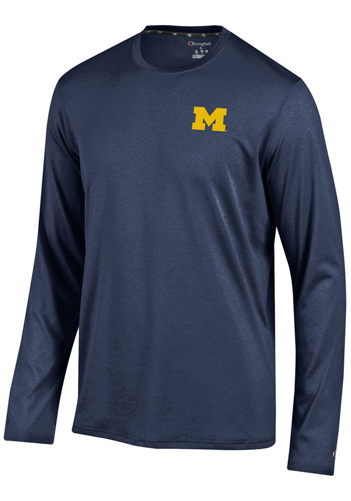 Champion Michigan Wolverines Mens Navy Blue Chest Logo Long Sleeve T-Shirt, Navy Blue, 100% POLYESTER, Size XL