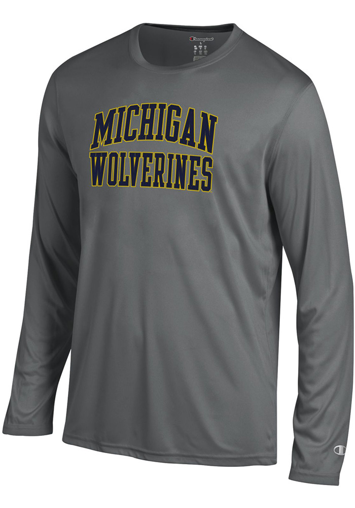 Champion Michigan Wolverines Grey Arch Long Sleeve T-Shirt - Image 1