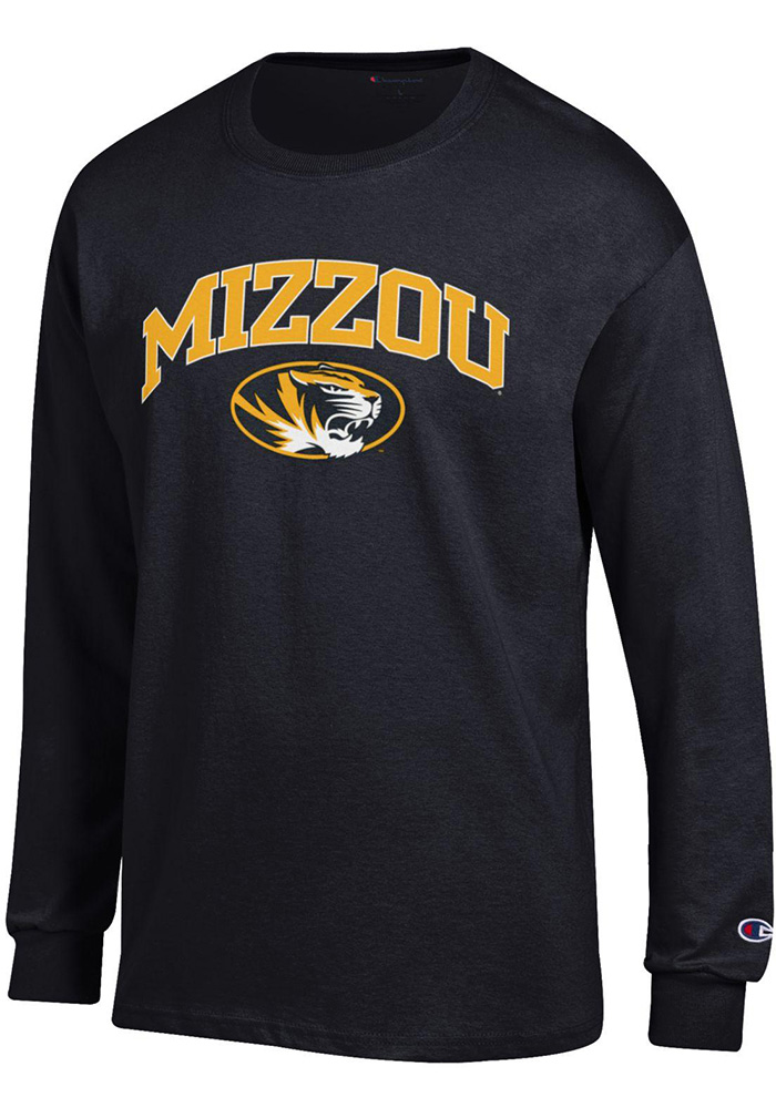 Champion Missouri Tigers Mens Black Arch Mascot Long Sleeve T Shirt, Black, 100% COTTON, Size S