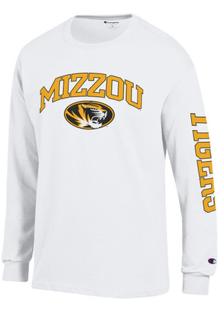 Missouri Tigers Mens White Arch Mascot Sleeve Hit Tee