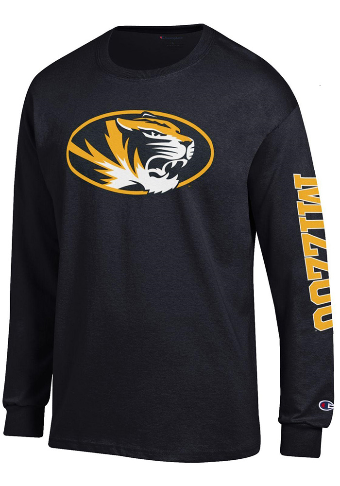 Champion Missouri Tigers Mens Black Primary Logo Sleeve Hit Long Sleeve T Shirt, Black, 100% COTTON, Size XL