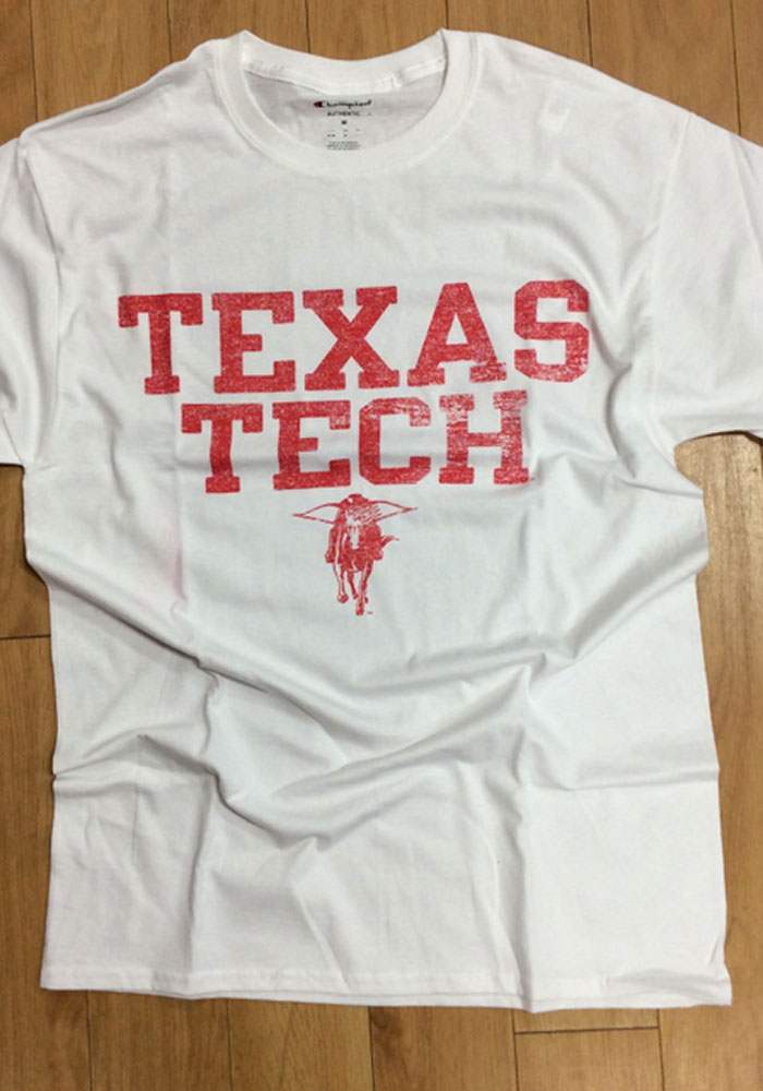 Champion Texas Tech Red Raiders White Distressed Short Sleeve T Shirt - Image 2