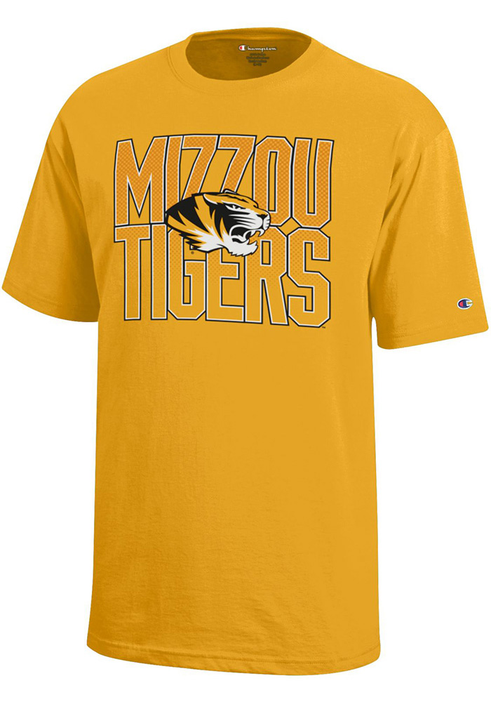 Missouri Tigers Youth Gold Stacked Short Sleeve T-Shirt - Image 1