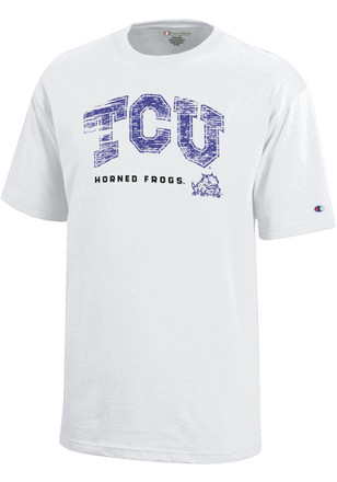 TCU Horned Frogs Kids White Faded T-Shirt