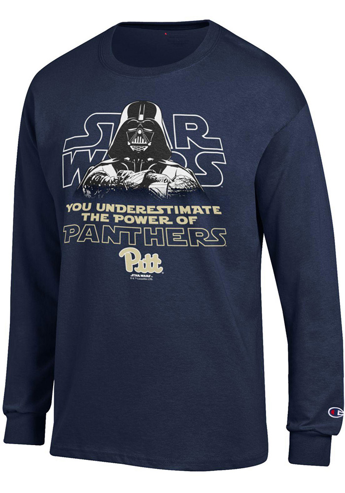 Champion Pitt Panthers Navy Blue Star Wars Long Sleeve T Shirt - Image 1