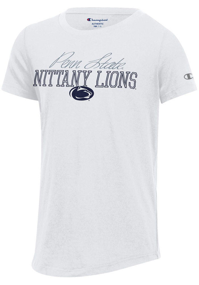 Champion Penn State Nittany Lions Girls White Script Short Sleeve Tee, White, 100% COTTON JERSEY, Size XL