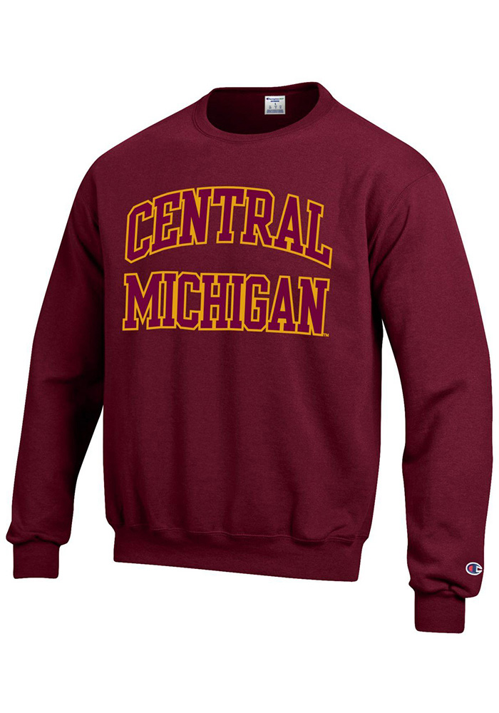 Champion Central Michigan Chippewas Mens Maroon Arch Long Sleeve Crew Sweatshirt - Image 1