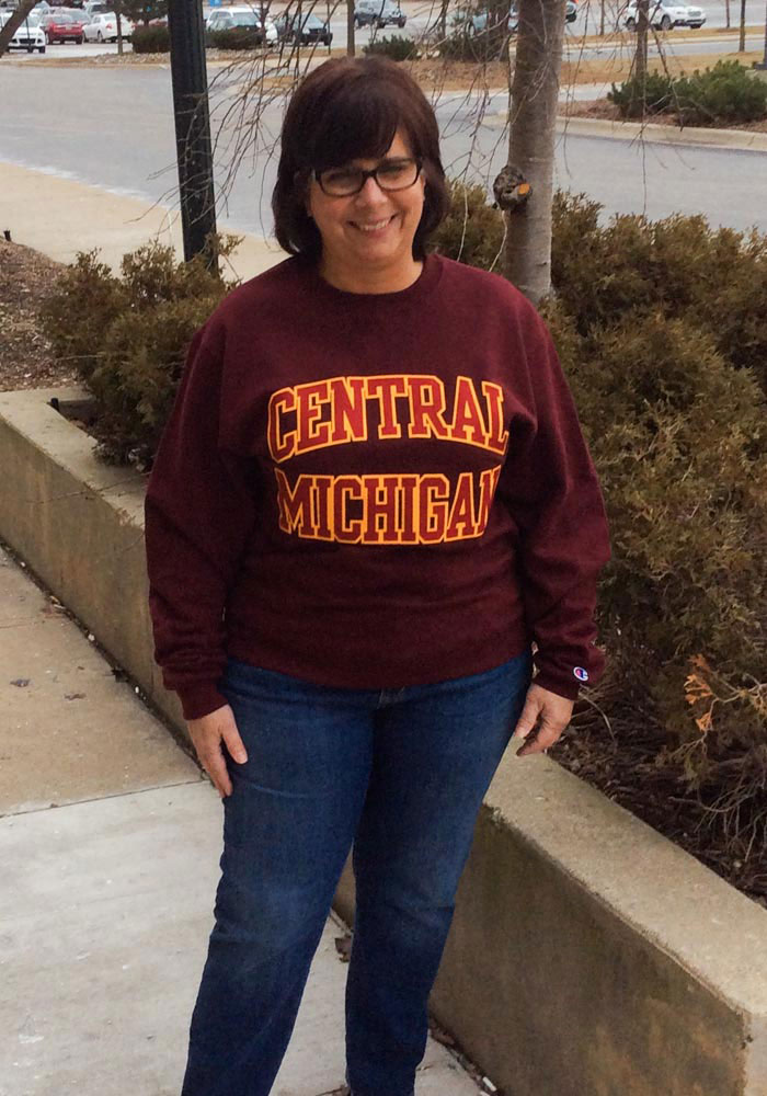 Champion Central Michigan Chippewas Mens Maroon Arch Long Sleeve Crew Sweatshirt - Image 2
