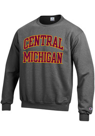 Central Michigan Chippewas Champion Arch Crew Sweatshirt - Charcoal
