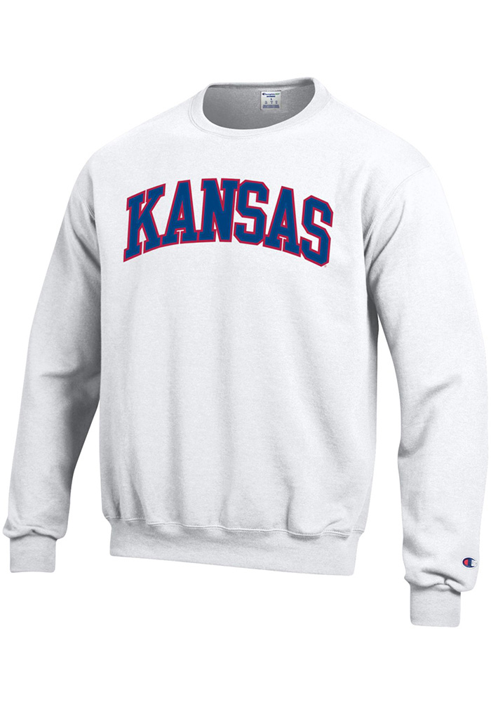Champion Kansas Jayhawks Mens White Arch Long Sleeve Crew Sweatshirt - Image 1