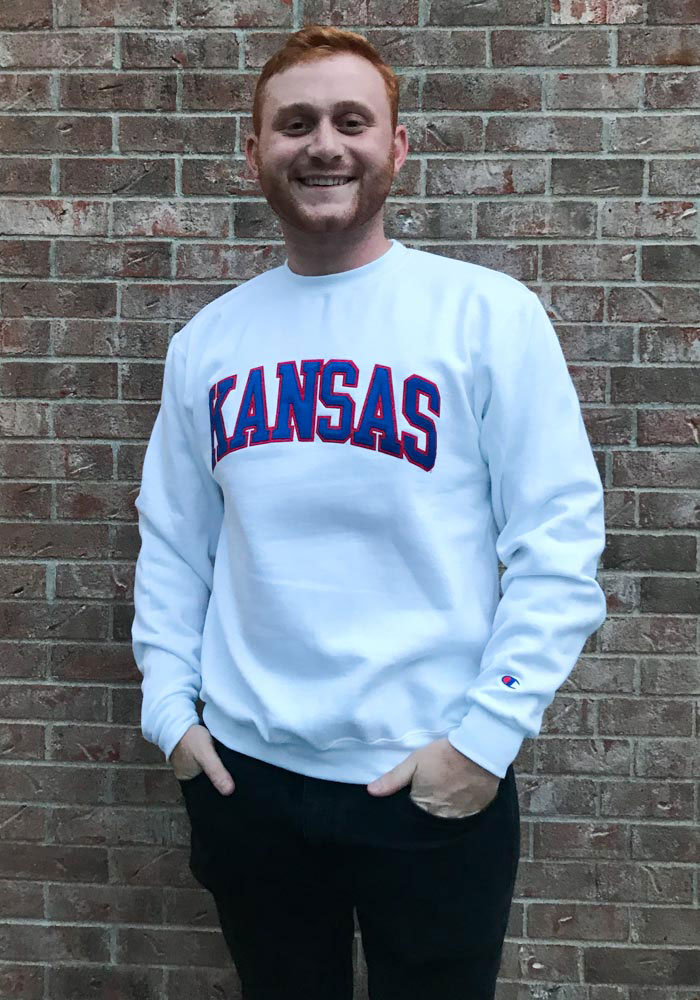 Champion Kansas Jayhawks Mens White Arch Long Sleeve Crew Sweatshirt - Image 3