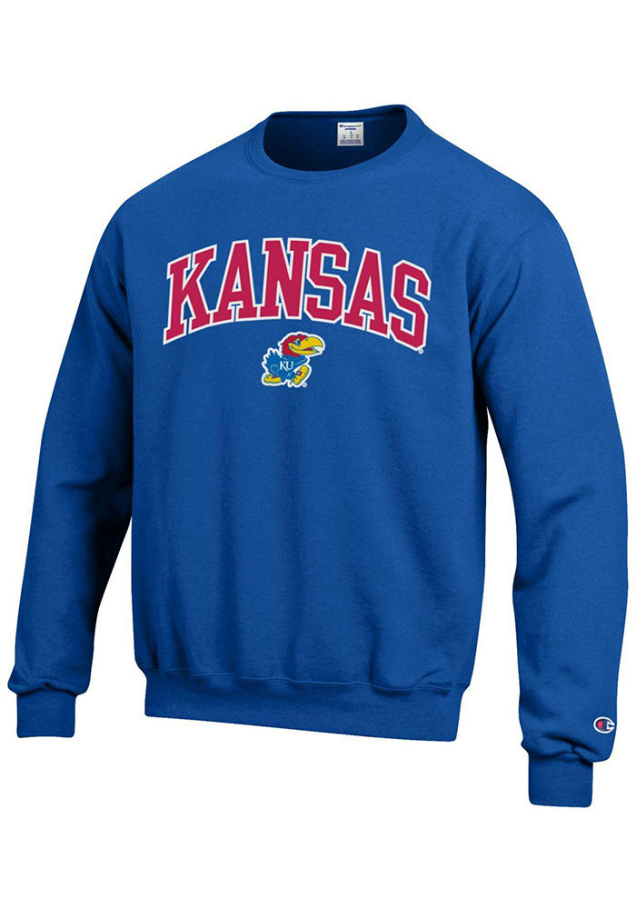 Champion Kansas Jayhawks Mens Blue Arch Mascot Long Sleeve Crew Sweatshirt - Image 1