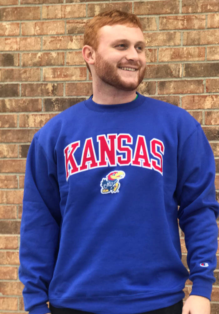 Champion Kansas Jayhawks Mens Blue Arch Mascot Long Sleeve Crew Sweatshirt - Image 2