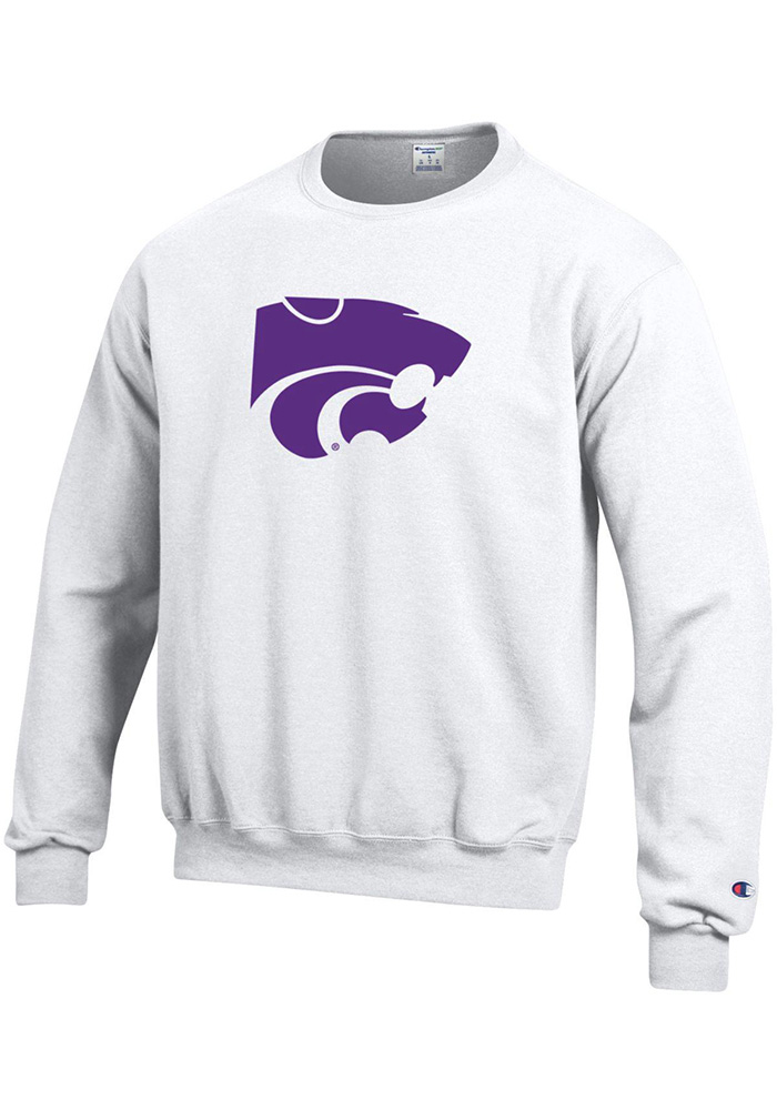 Champion K-State Wildcats Mens White Big Logo Long Sleeve Crew Sweatshirt, White, 50% Cotton / 50% Polyester, Size S