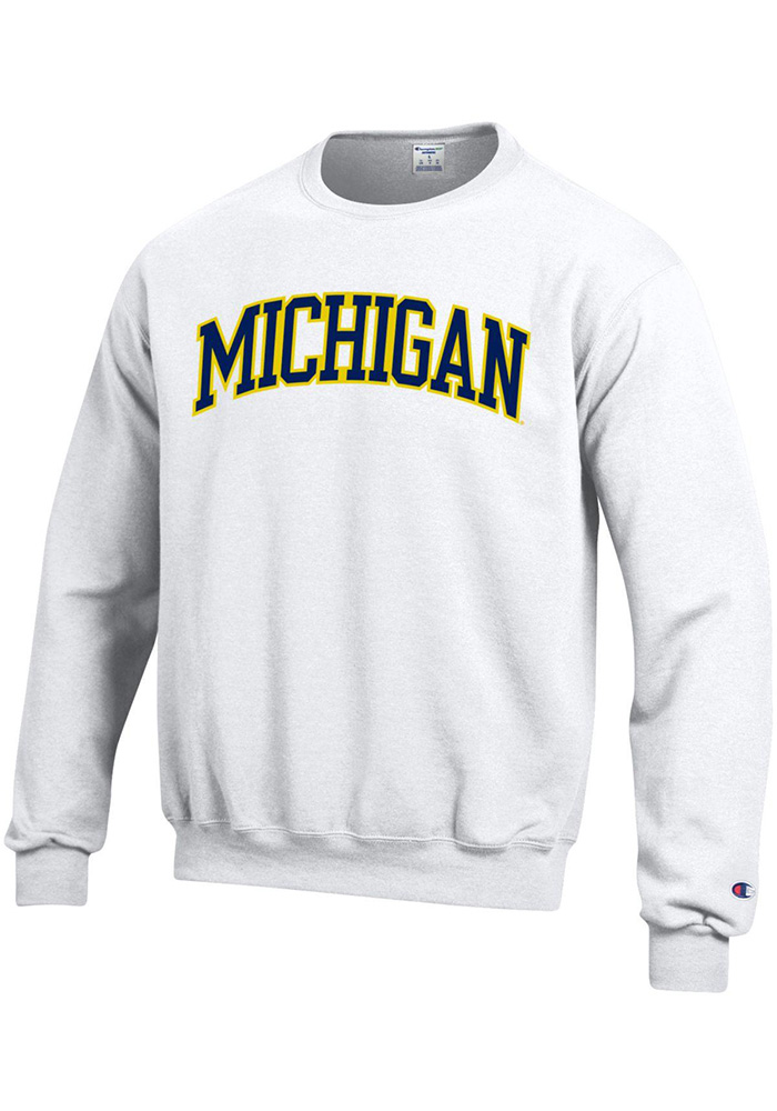 5875be980cf Champion Michigan Wolverines Mens White Arch Long Sleeve Crew Sweatshirt -  Image 1