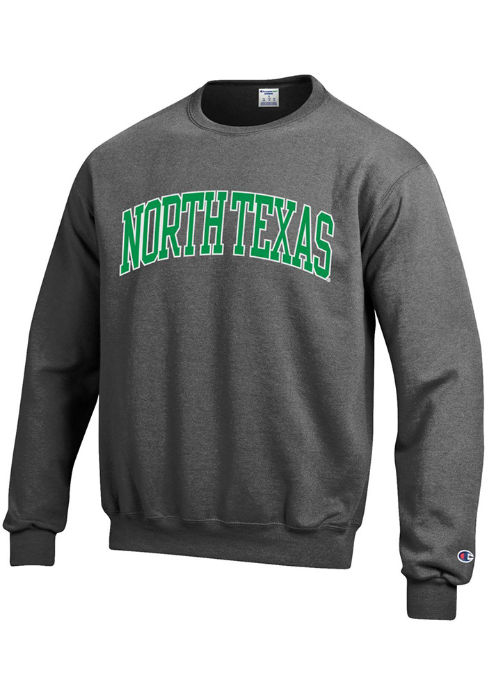 Champion North Texas Mean Green Mens Grey Arch Long Sleeve Crew Sweatshirt - Image 1
