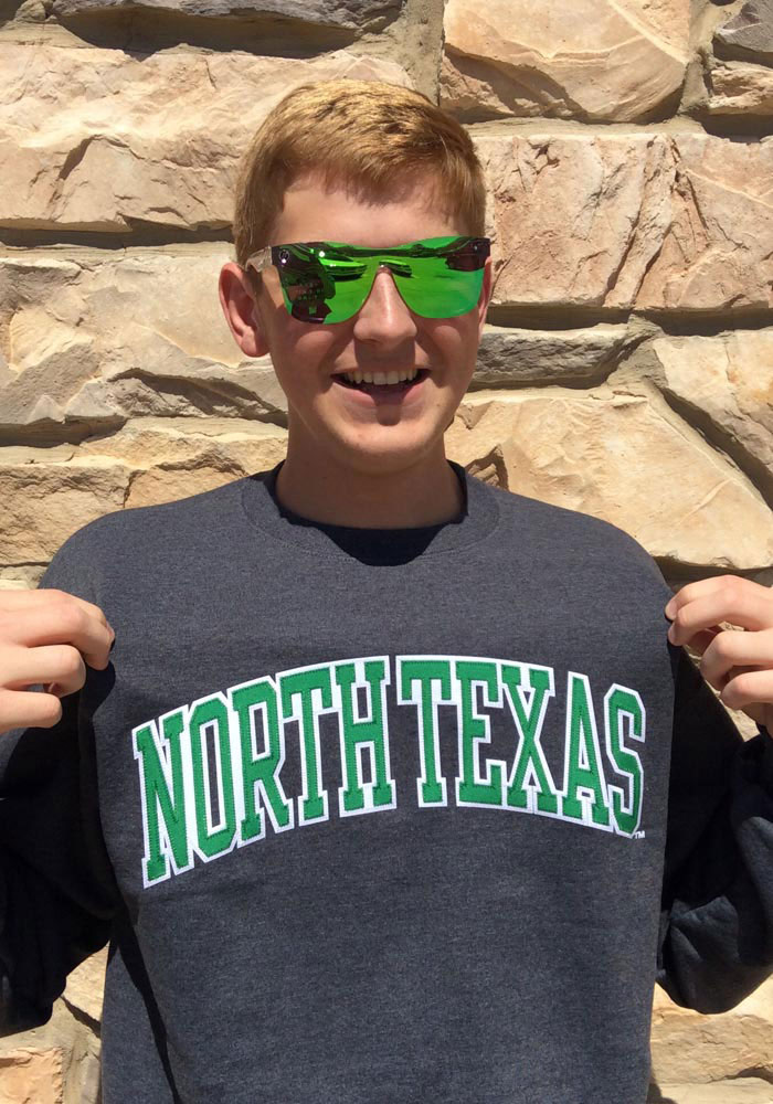 Champion North Texas Mean Green Mens Charcoal Arch Long Sleeve Crew Sweatshirt - Image 2