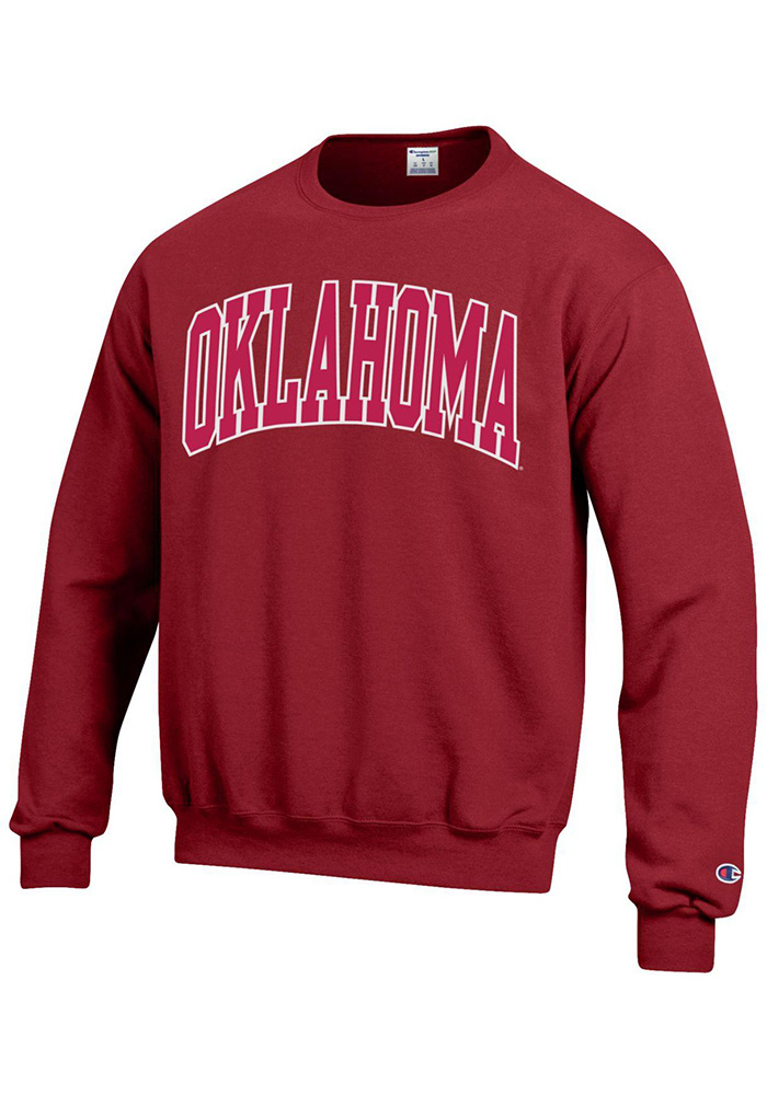 Champion Oklahoma Sooners Mens Crimson Arch Long Sleeve Crew Sweatshirt - Image 1