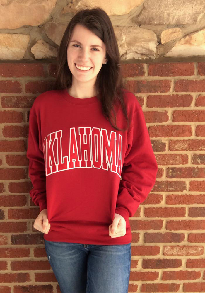 Champion Oklahoma Sooners Mens Crimson Arch Long Sleeve Crew Sweatshirt - Image 2