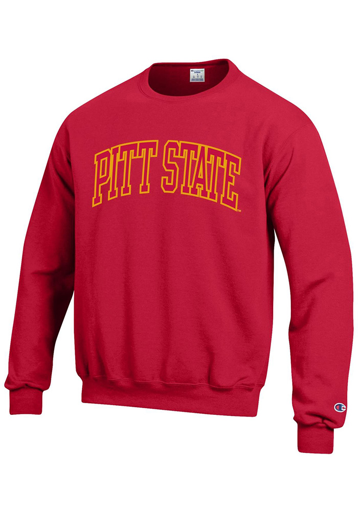 Champion Pitt State Gorillas Mens Red Arch Long Sleeve Crew Sweatshirt - Image 1
