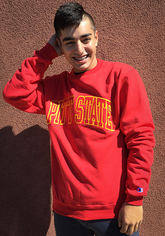 Champion Pitt State Gorillas Mens Red Arch Long Sleeve Crew Sweatshirt - Image 2