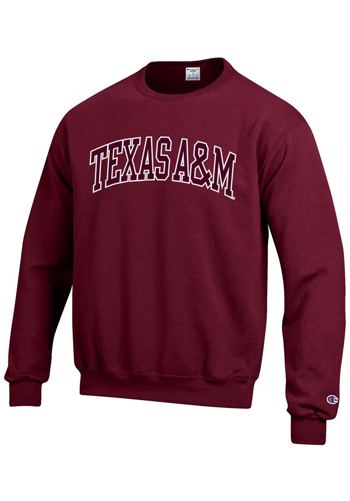 Champion Texas A&M Aggies Mens Maroon Arch Long Sleeve Crew Sweatshirt - Image 1