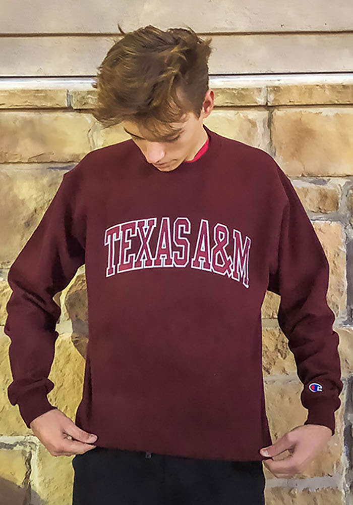 Champion Texas A&M Aggies Mens Maroon Arch Long Sleeve Crew Sweatshirt - Image 2