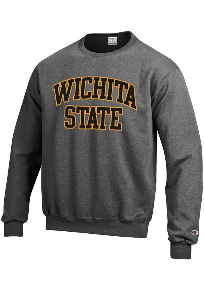 Champion Wichita State Shockers Mens Grey Arch Long Sleeve Crew Sweatshirt - Image 1