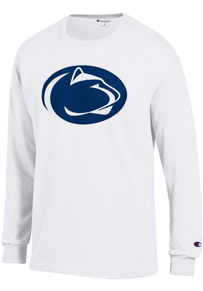 Champion Penn State Nittany Lions White Primary Logo Long Sleeve T Shirt - Image 1