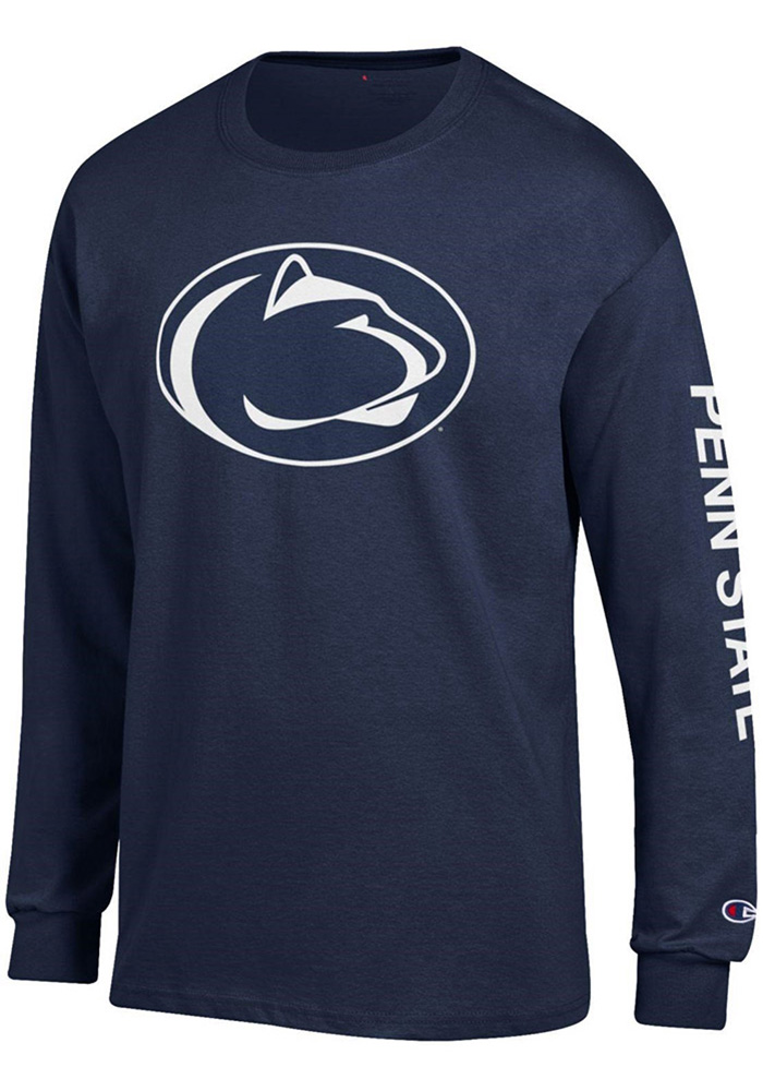 Champion Penn State Nittany Lions Mens Navy Blue Primary Logo W/ Sleeve Hit Long Sleeve T Shirt, Navy Blue, 100% COTTON, Size XL