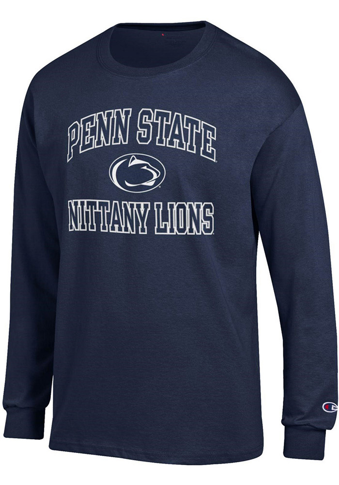 Champion Penn State Nittany Lions Mens Navy Blue #1 Design Long Sleeve T Shirt, Navy Blue, 100% COTTON, Size M